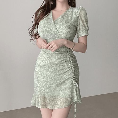 Gorgeous Greenery V Wrap Shirring Dress