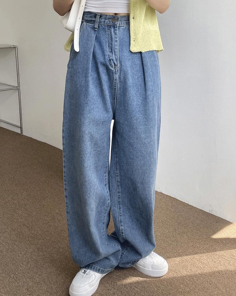 Cocoon Pintuck Blue Denim Wide Pants