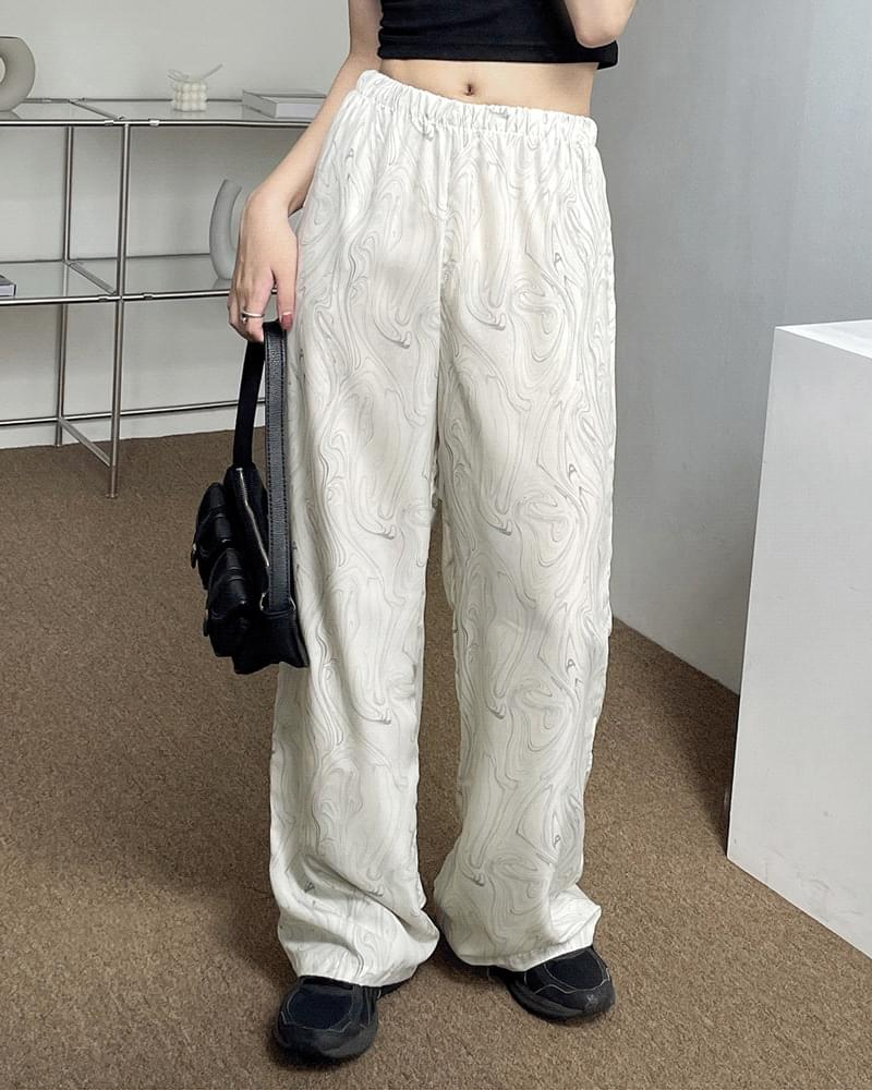 Loro Marble Long Banding Wide Pants (人氣商品配送延遲) 長褲