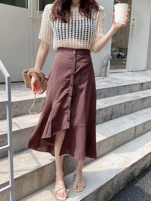 fibre button unbalance skirt