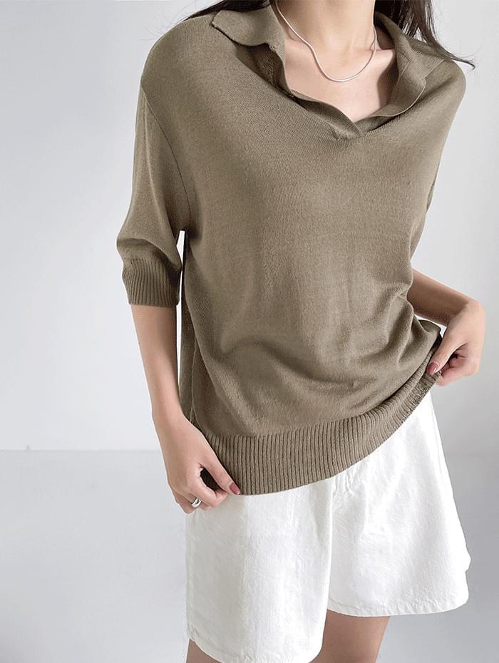 Linen Collar Short Sleeve Knitwear