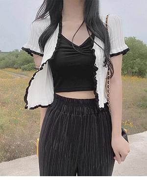 See color ruffle Ribbed Knitwear Cardigan + Crew Sleeveless Ruched Crop