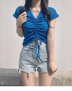 Moz Ribbed Shirring Short Sleeve Tee + Lofi Cut Short Pants