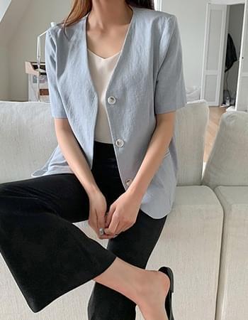 Pobo Linen No Cara Short Sleeve Jacket