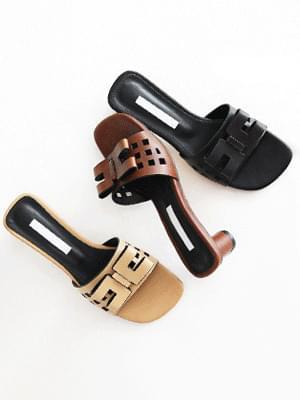 Square Ribbon Mule Slippers 3cm