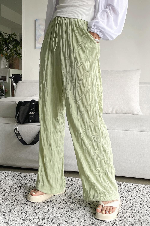 Wrinkle wide long Pants