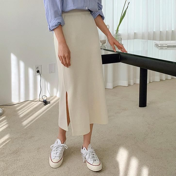 Nev You Knitwear Split Long Skirt 裙子