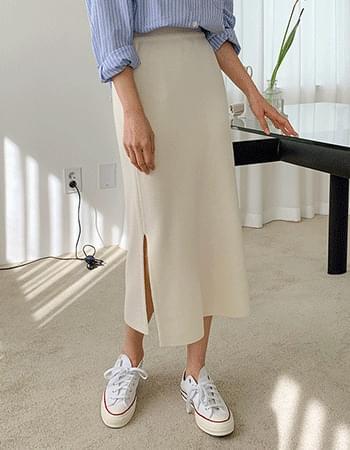 Nev You Knitwear Split Long Skirt
