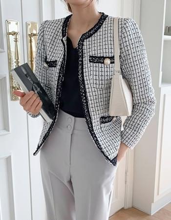Toffee no-collar tweed jacket