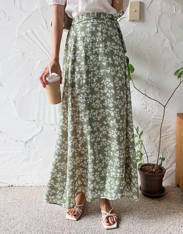 Cain Flower Wrap Long Skirt