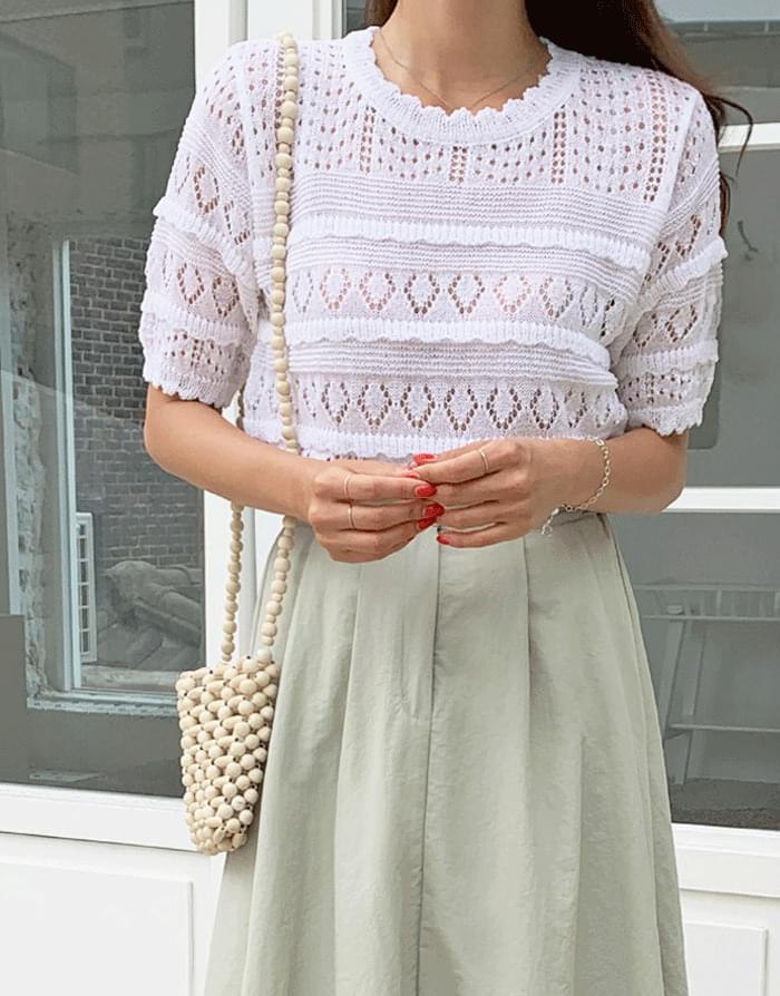Grace Punching Short Sleeve Knitwear