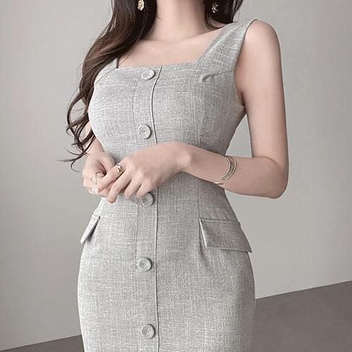 Straight Spandex Linen Sleeveless Sleeveless Square Neck Dress 3color