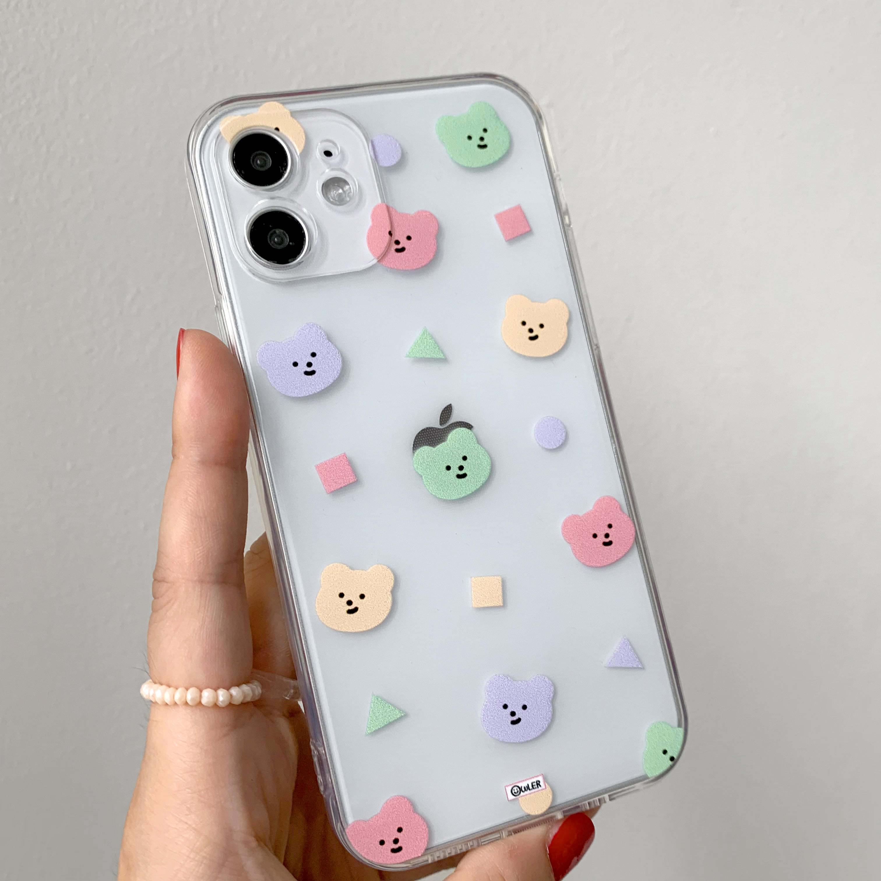 Beatles Bear Pattern Transparent Jelly iPhone Case