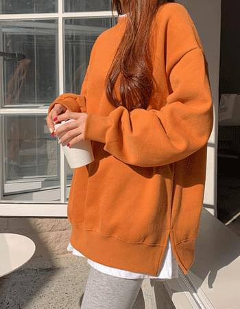 Boxy slit Woolen Sweatshirt
