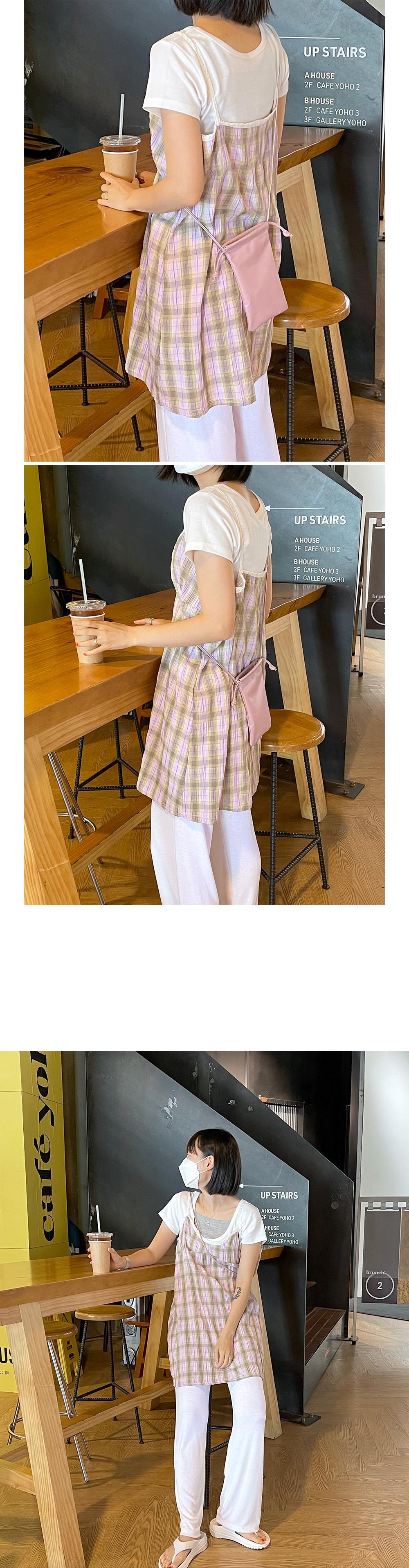 Wrinkle Check Sleeveless Mini Dress