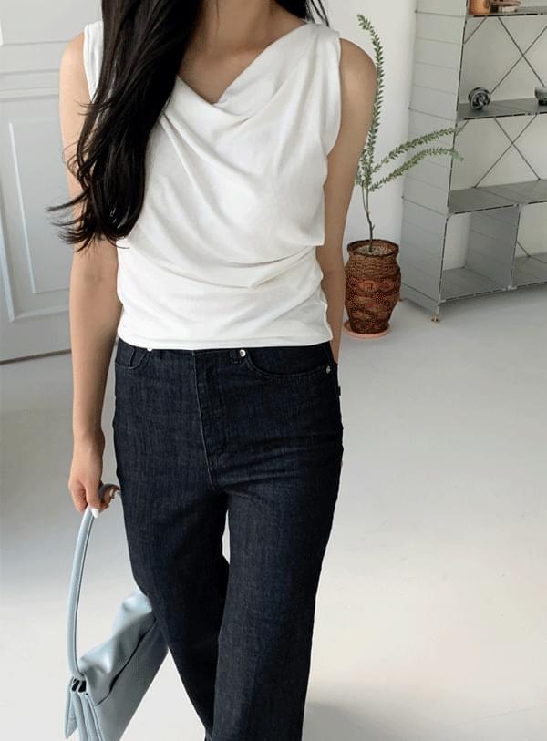 piece draped sleeveless