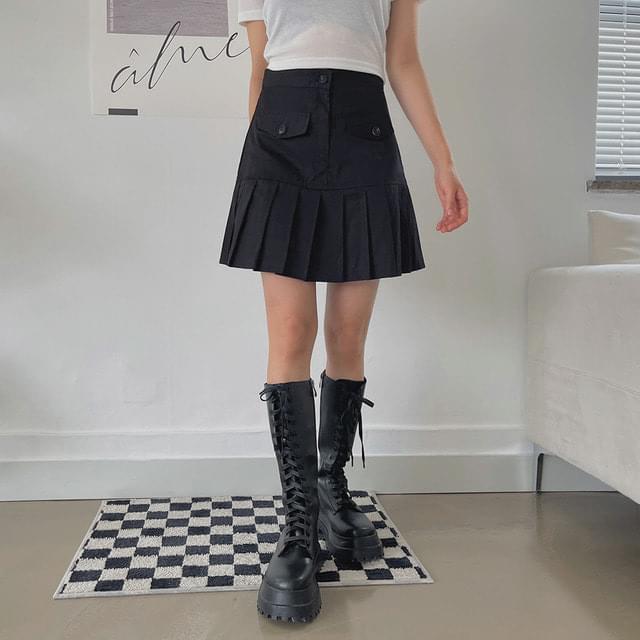 Velon Pleated Mini Skirt