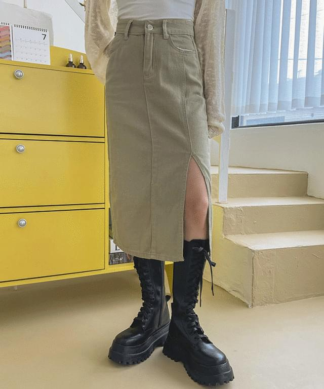 Louver Split Cotton Long Skirt