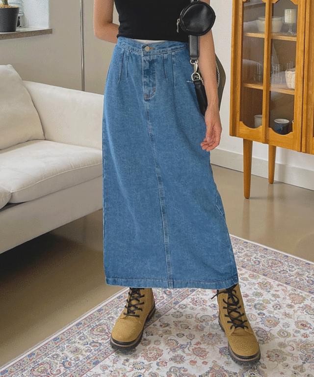 rambi slit denim long skirt