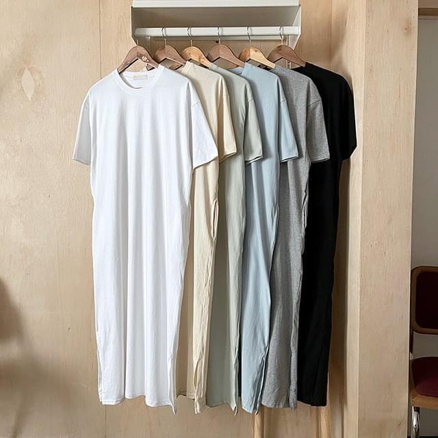 Mellow Cotton Short Sleeve Long Dress