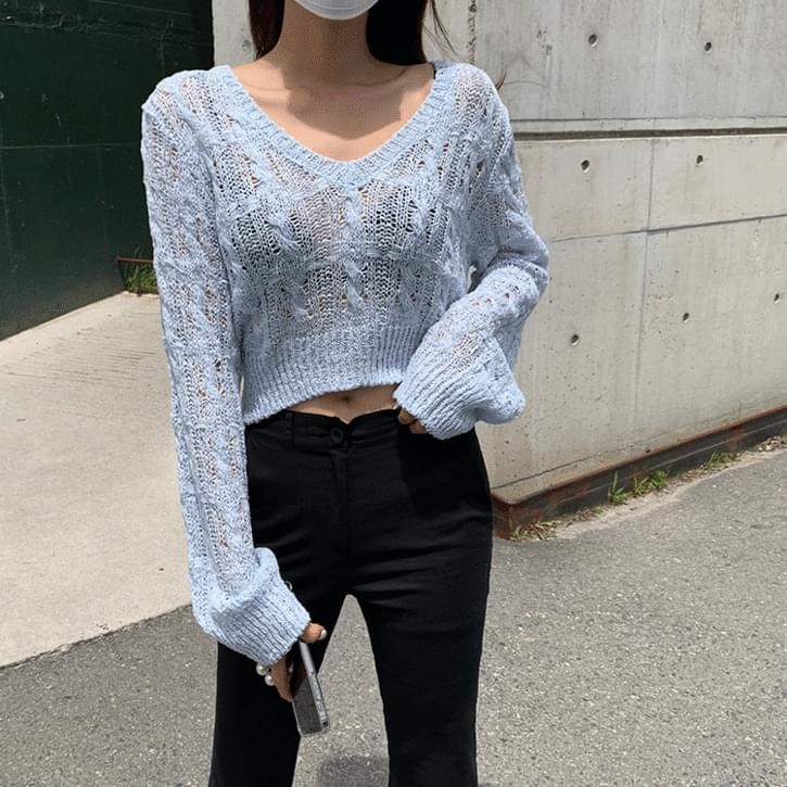 Tedin V-Neck Crop Knitwear 針織衫