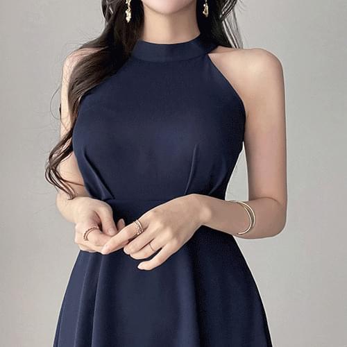 Slim fit flare halter Dress 3color