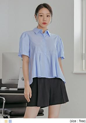 Pleat Accent Flared Blouse