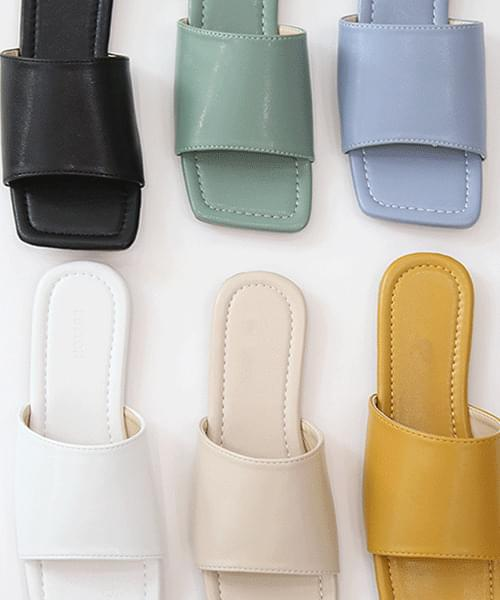 pastel wide flat slippers