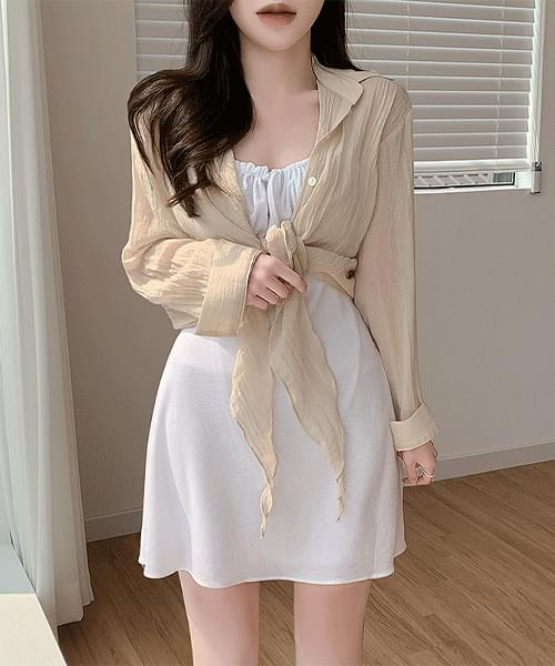Kind touch linen Loose-fit see-through bolero shirt blouse