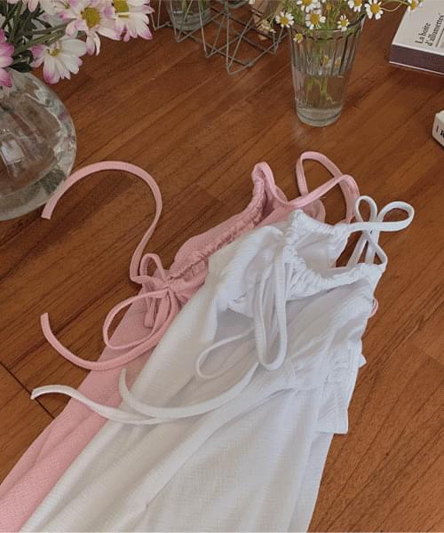 Pureing Shirring Strap Sleeveless Mini Dress
