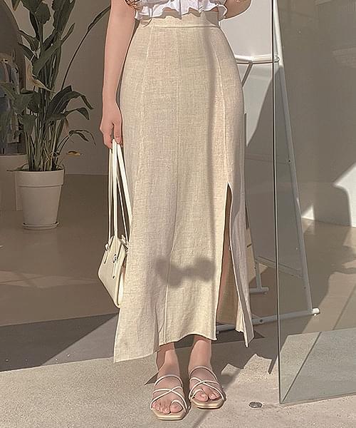 Summer Oil Linen Banding Split Long Skirt