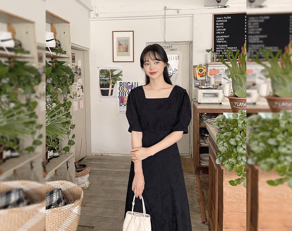 Venicle Flower Square Neck Reversible Ribbon Long Dress