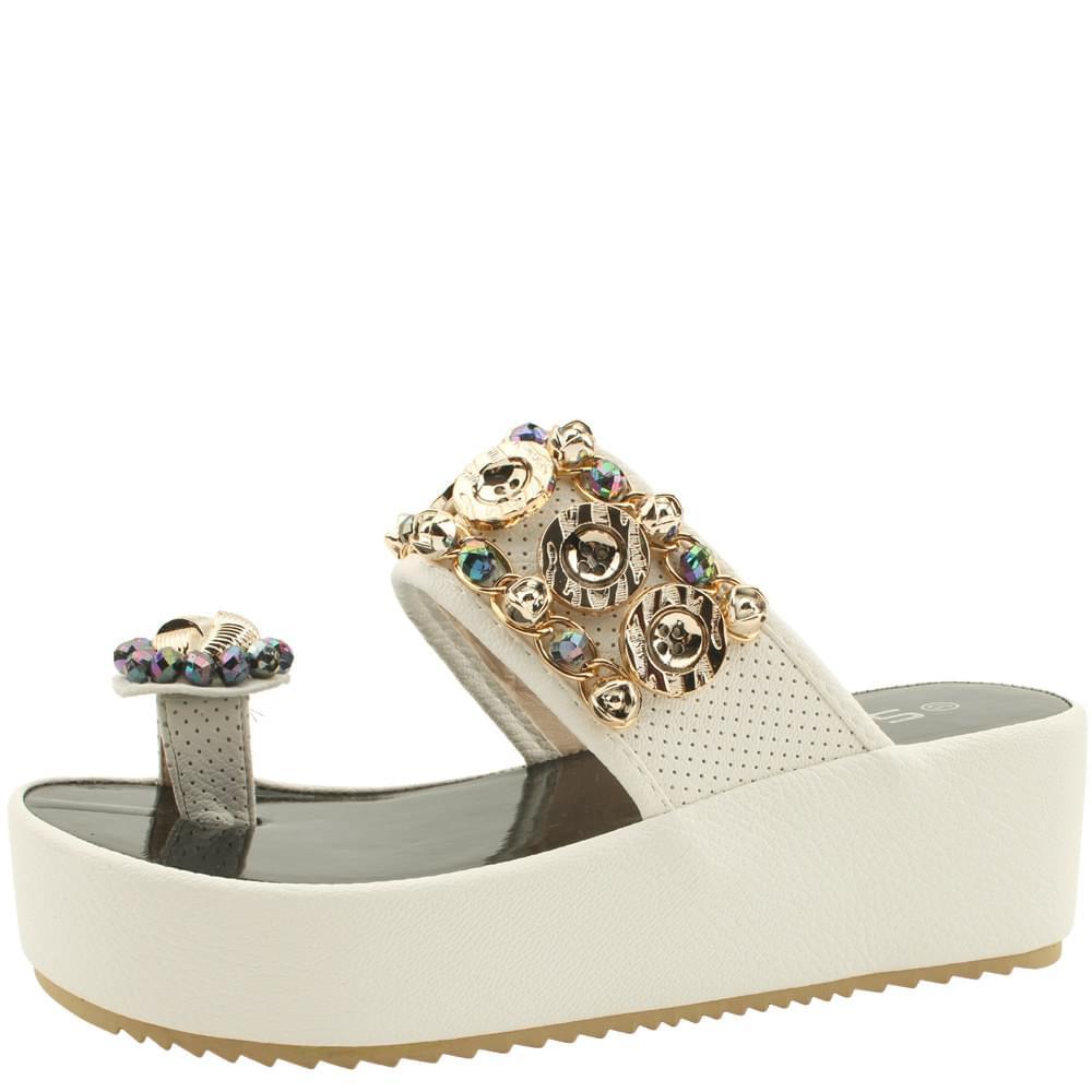 Cubic wedge heel tall flip flops slippers