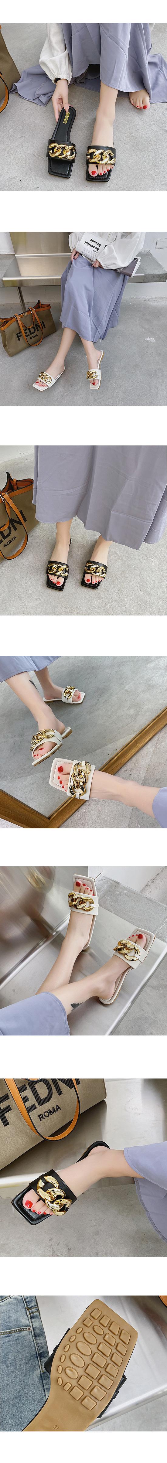 Square Toe Gold Chain Slippers White