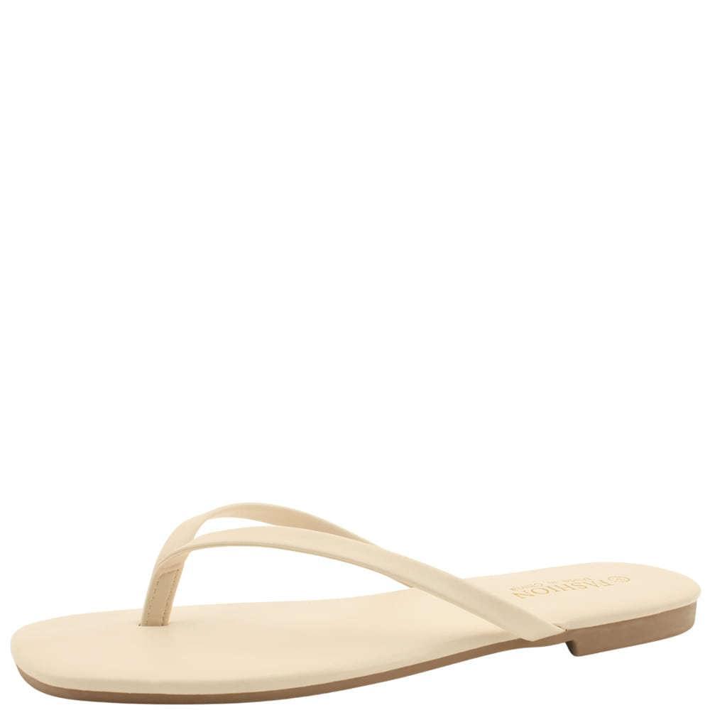 Basic slim daily short slippers beige