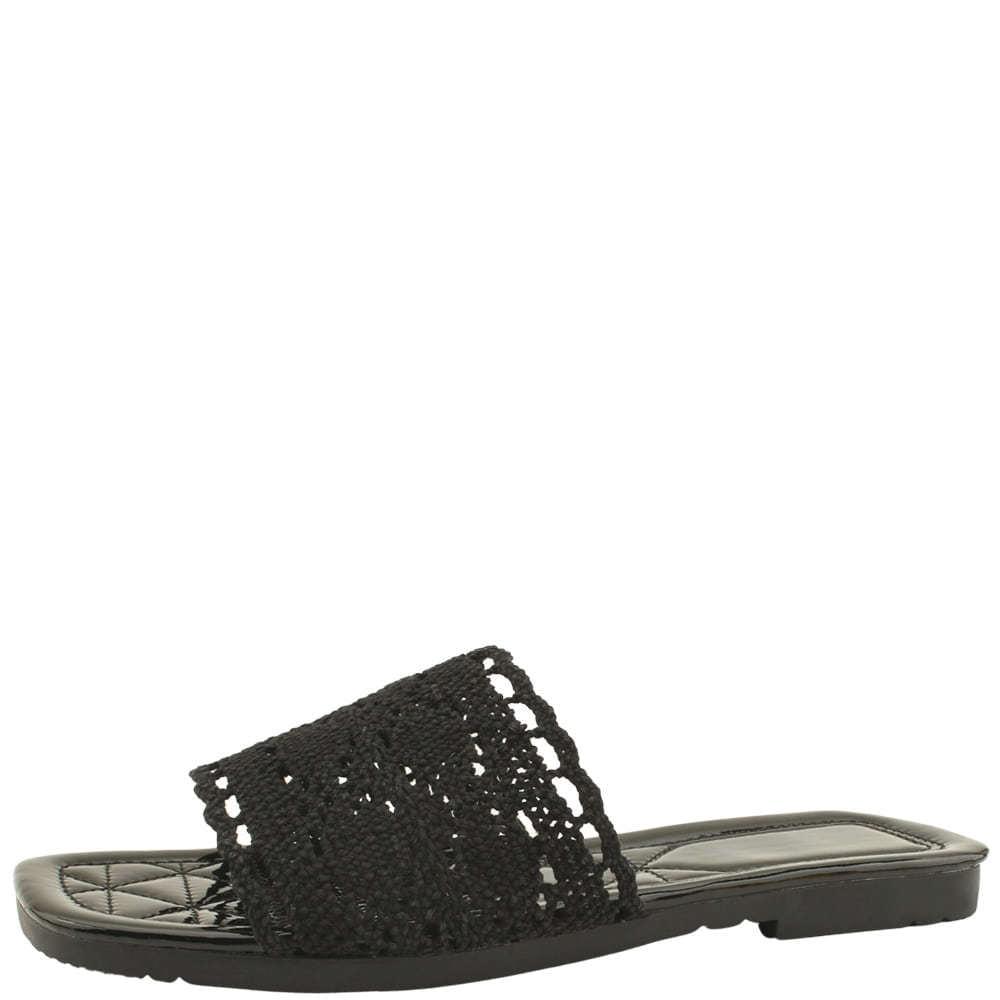Lace Mesh Square Toe Slippers Black