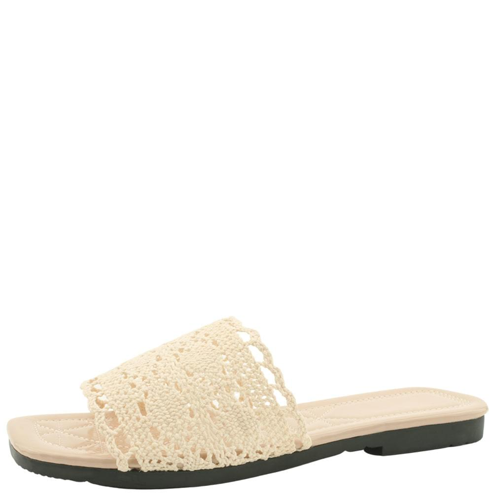 lace mesh square toe slippers beige