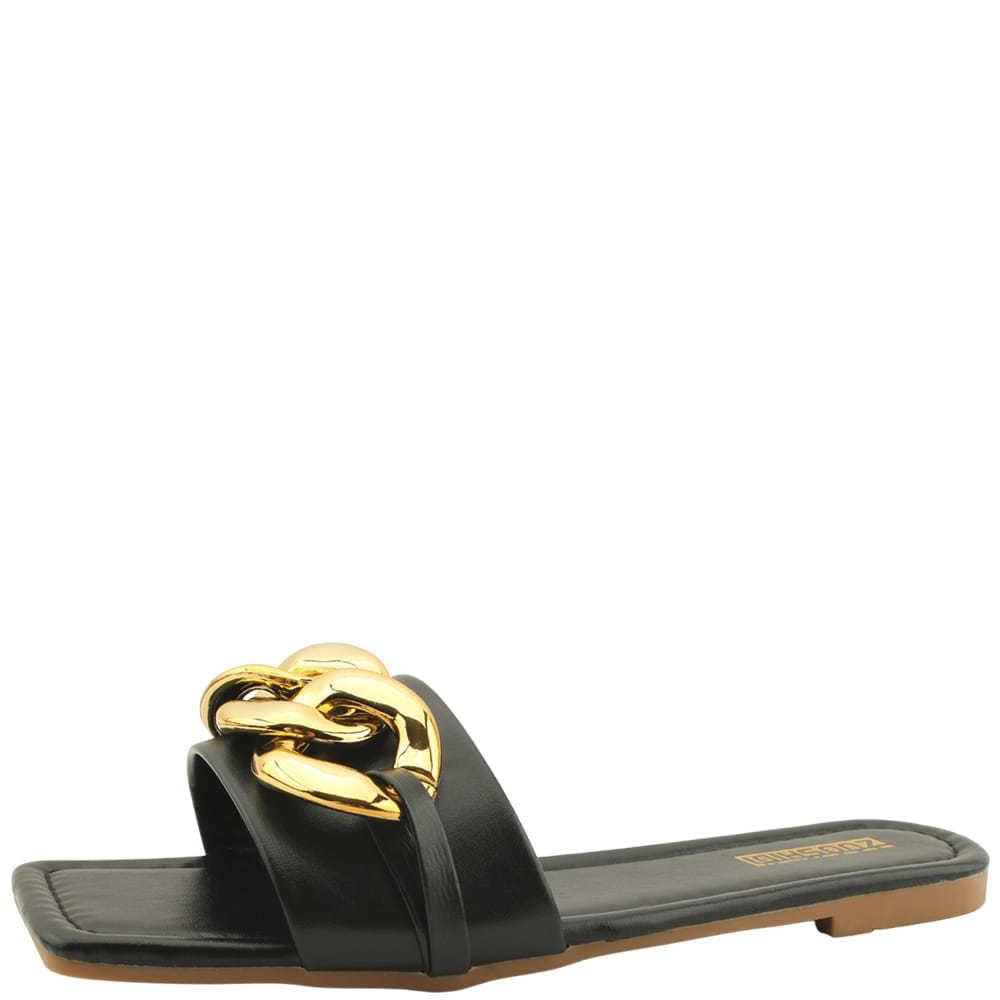 Square Toe Gold Chain Slippers Black