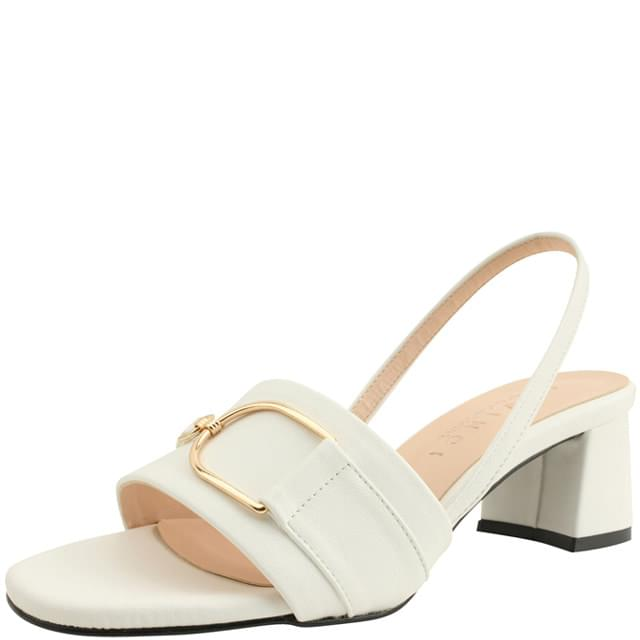 Metal Buckle Slingback Middle Heel Sandals White