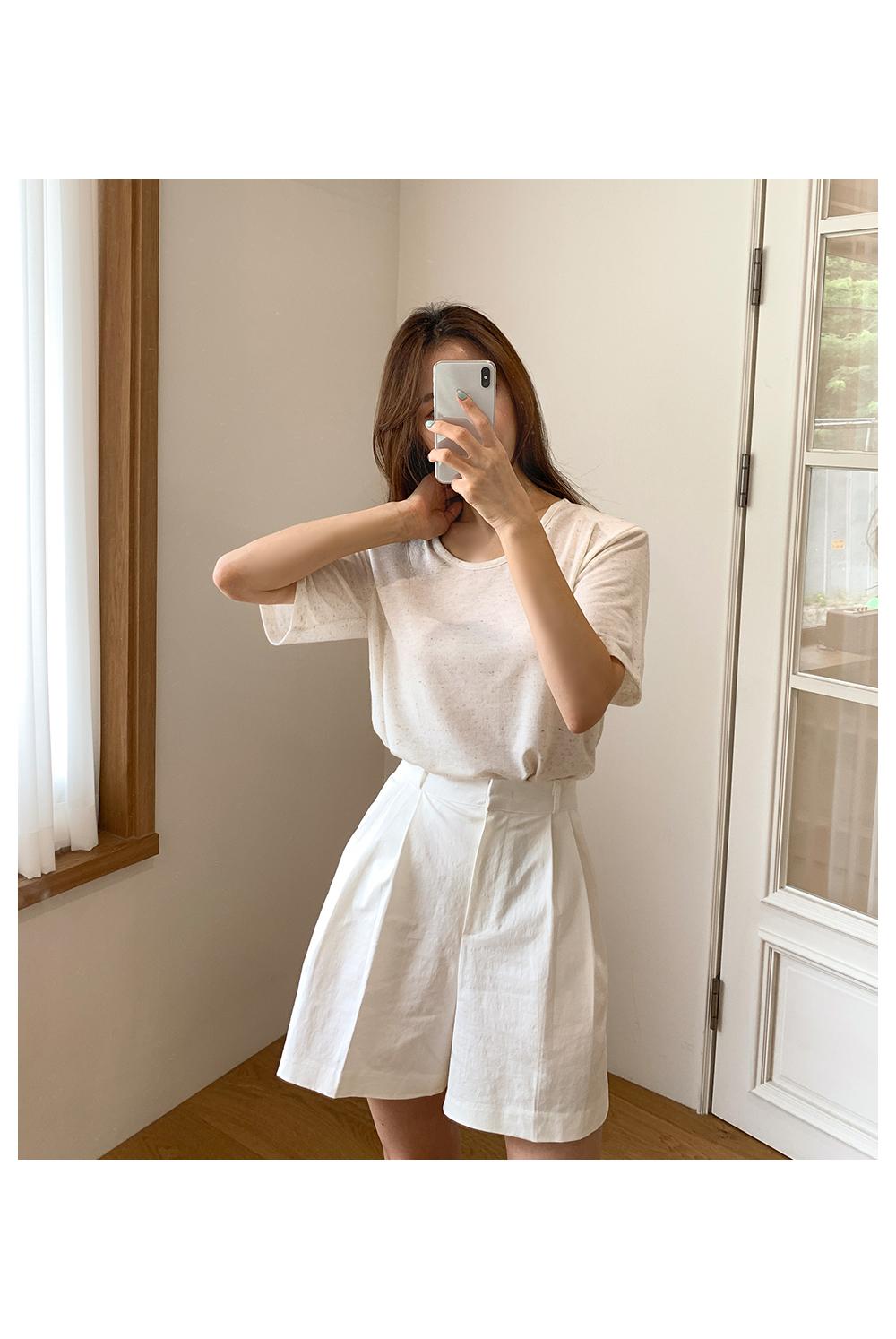 Oatmeal Linen Pad Short Sleeve Tee