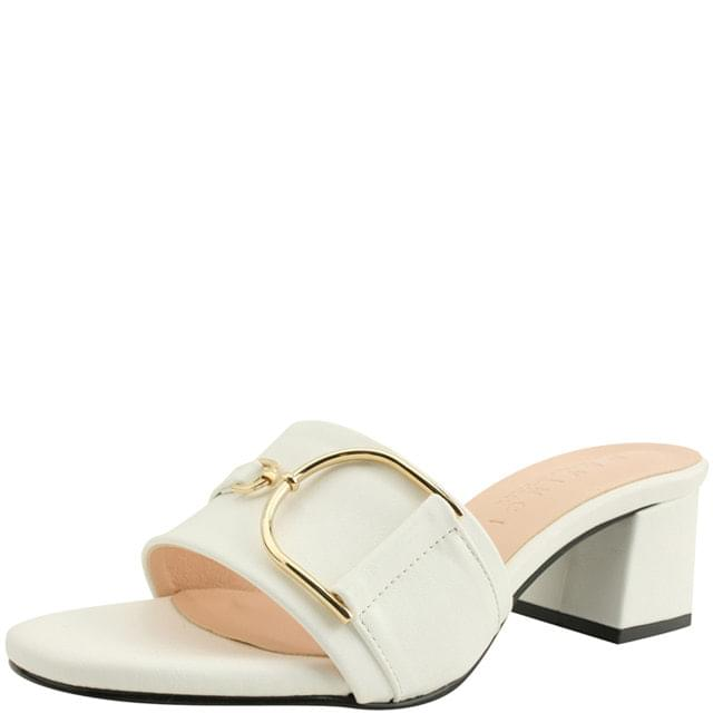 Gold Chain Middle Heel Mules Slippers White