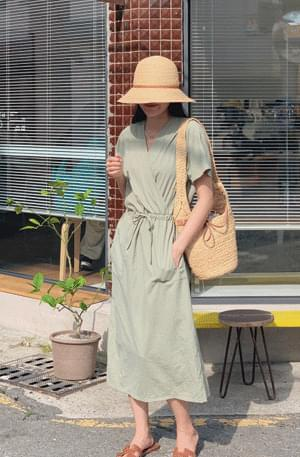 Cool washer wrap string pocket Dress