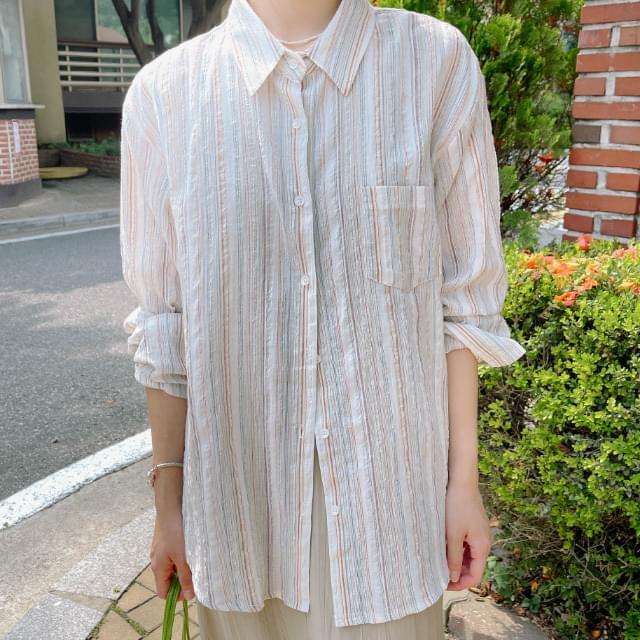 Deep Boxy-fit striped shirt 襯衫