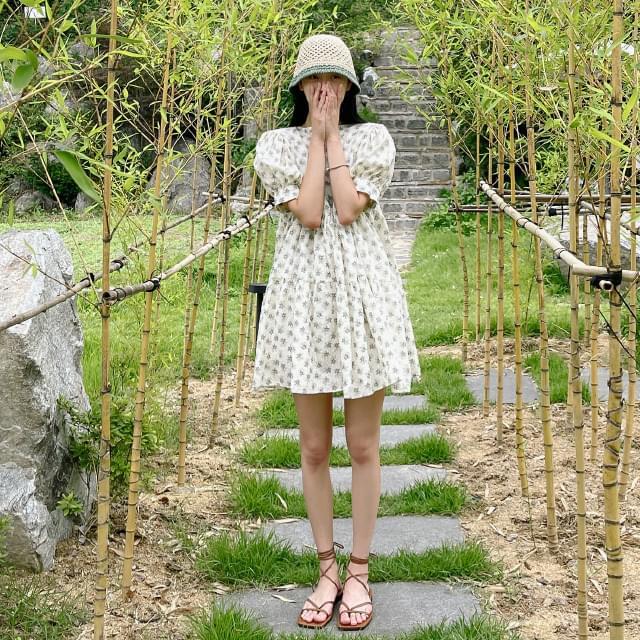 daisy flower mini Dress 迷你短洋裝