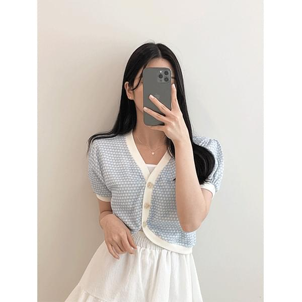 Cotton candy, tweed puff cropped short-sleeved cardigan