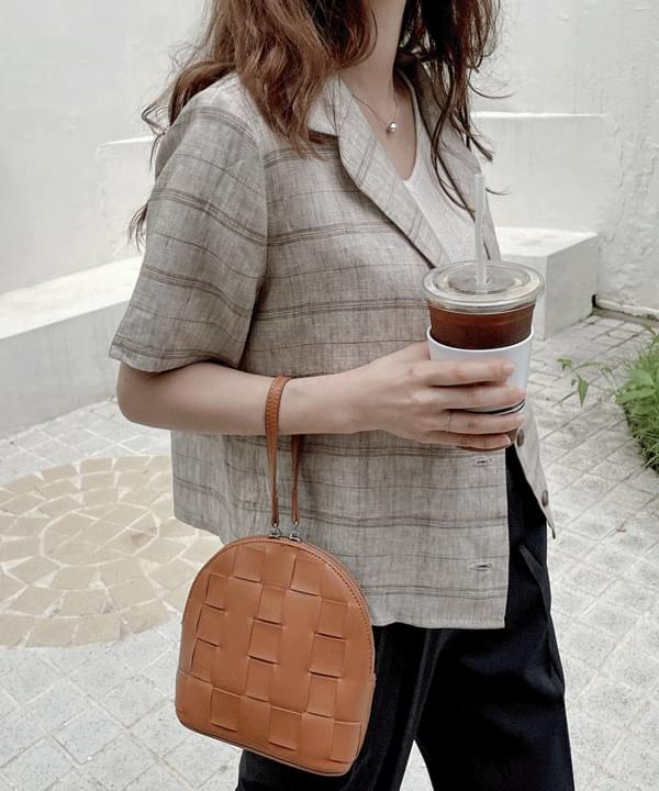 Cosette Linen Check Crop Jacket