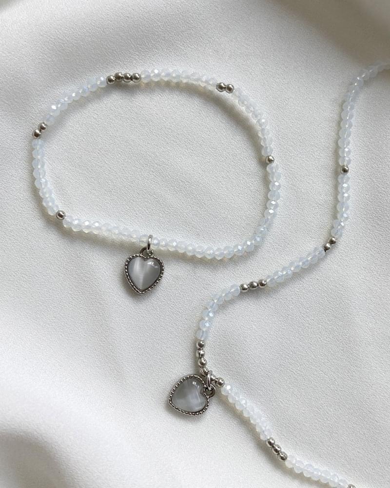 Rishi Heart Beads Bracelet Necklace Set - bracelet only