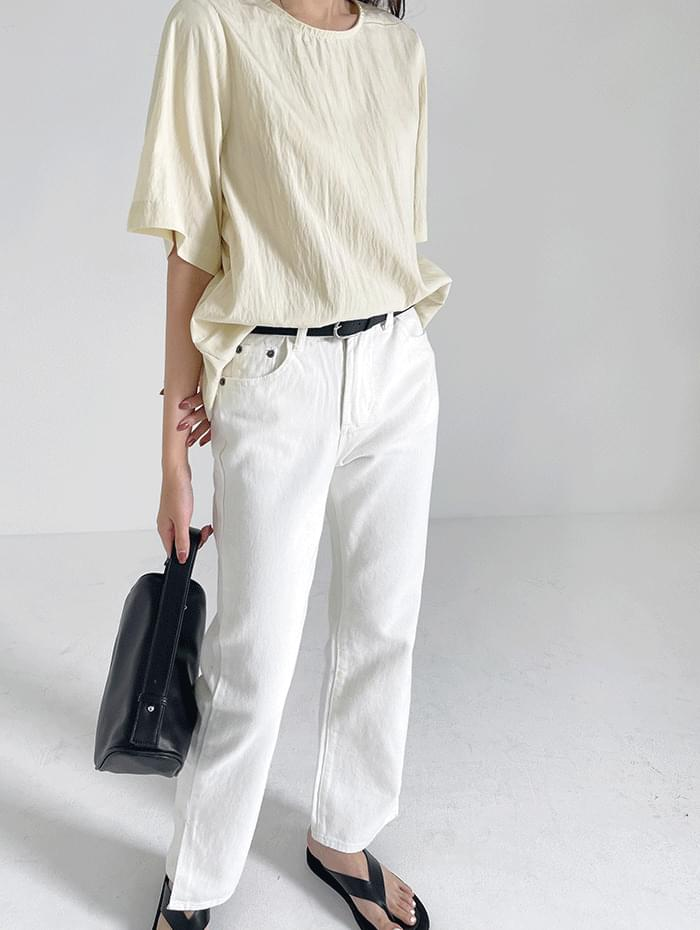 Sub-slit cotton trousers