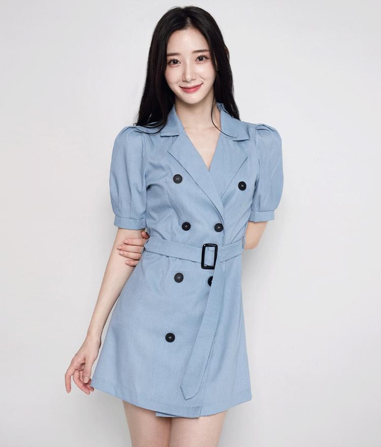 Double-Breasted Mini Coat Dress