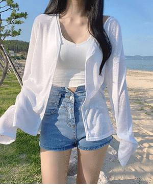 Orol Loose-fit Fit Knitwear Cardigan + Iron Double Strap Bra Top Sleeveless